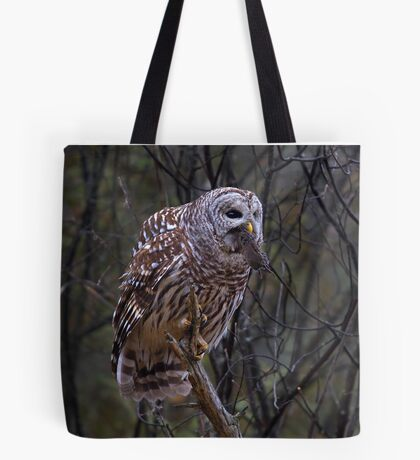 Barred Owl with vole Tote Bag