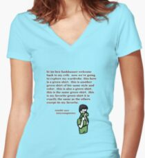 the green vneck oh dear Women's Fitted V-Neck T-Shirt