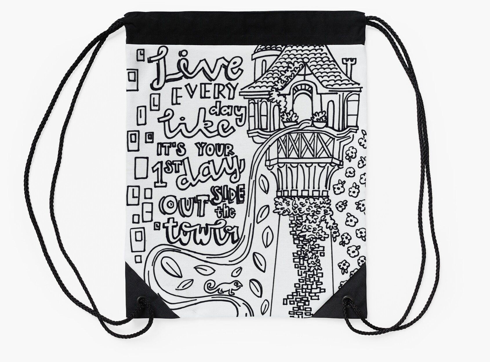 Coloring book bag - Tangled Adult Coloring Drawstring Bags