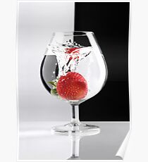 Strawberry in a Glass art photo print Poster