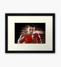 Fighter in boxing gloves art photo print Framed Print