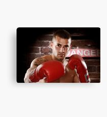 Fighter in boxing gloves art photo print Canvas Print