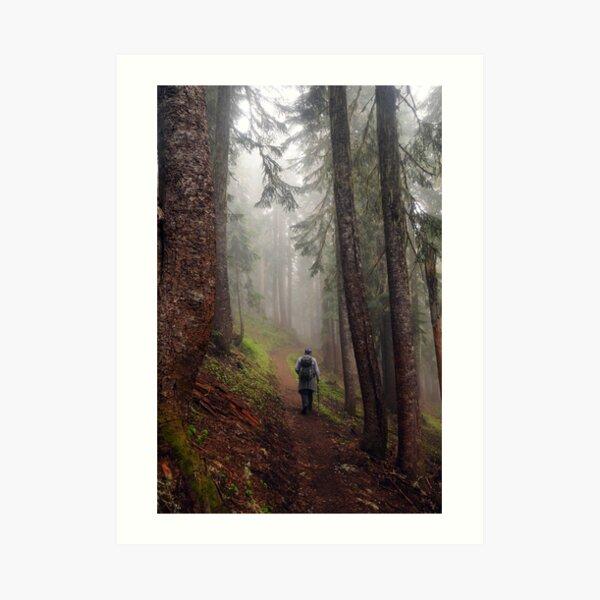 Fog Hiker Art Print