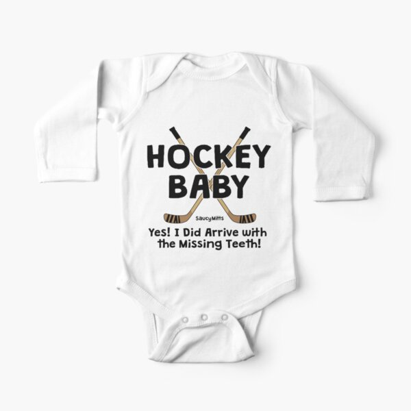 Hockey Baby Yes I Arrived With Missing Teeth Long Sleeve Baby One-Piece