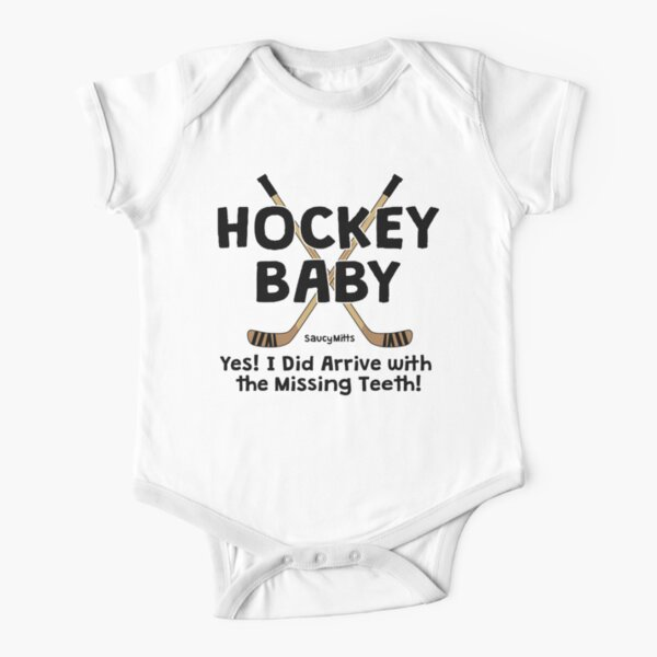 Hockey Baby Yes I Arrived With Missing Teeth Short Sleeve Baby One-Piece