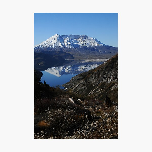 Mt St Helens reflected in Spirit Lake 9273_101913 Photographic Print