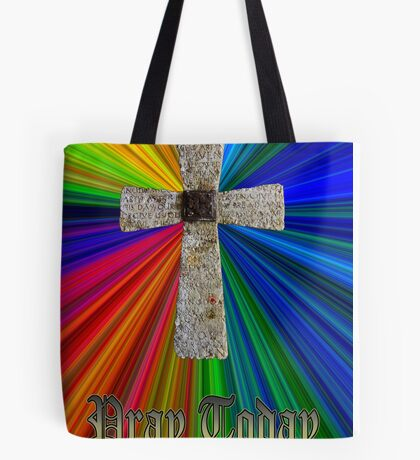 """pray today"" lord's prayer cross Tote Bag"