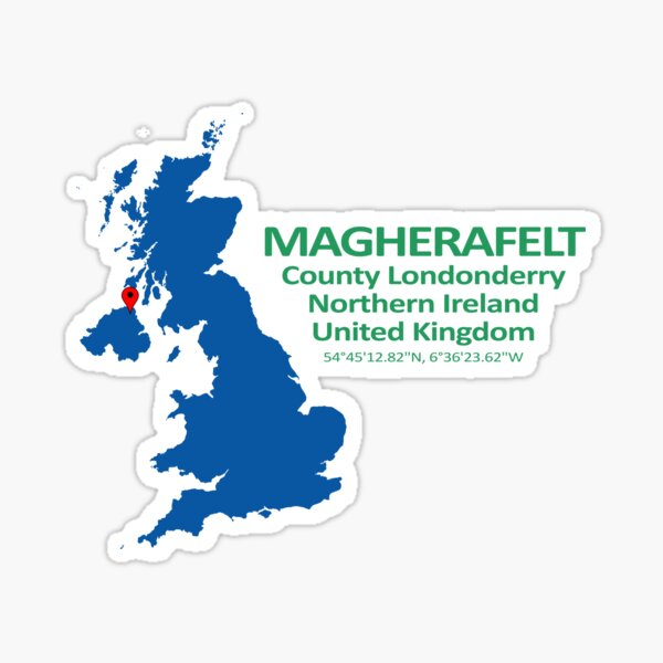 Magherafelt Location Map Londonderry Northern Ireland Sticker