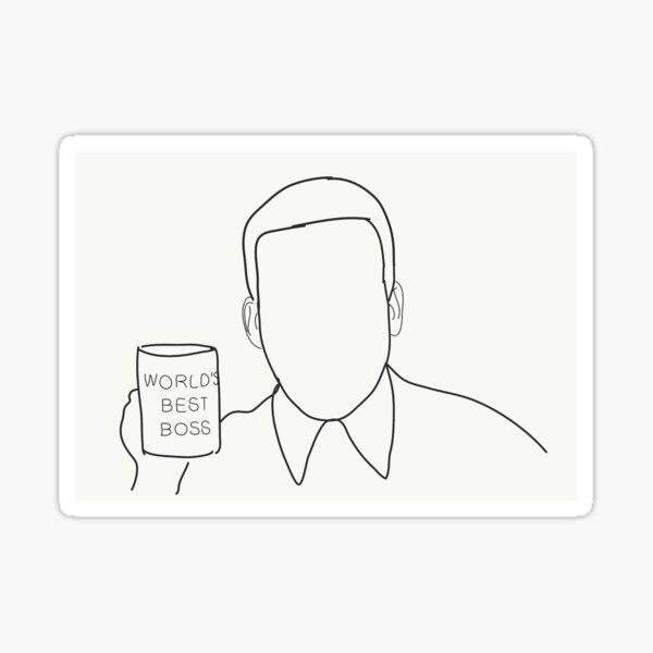 World's Best Boss Sketch (Block Line) Inspired by The Office Sticker