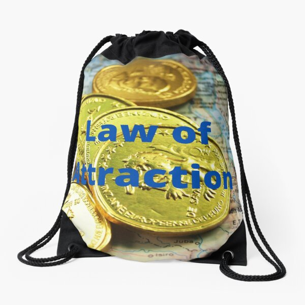 Law of Attraction - Gold Coins and Map Drawstring Bag