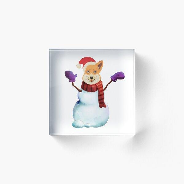 Corgi Snowman Acrylic Block