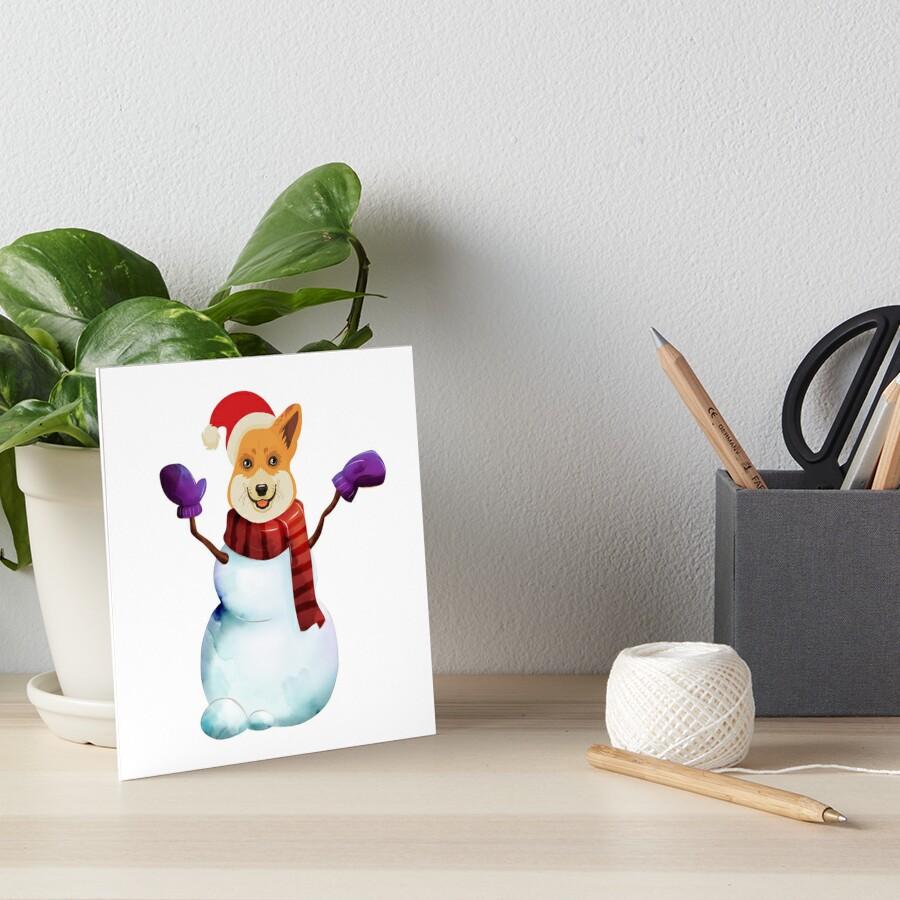 Corgi Snowman Art Board Print