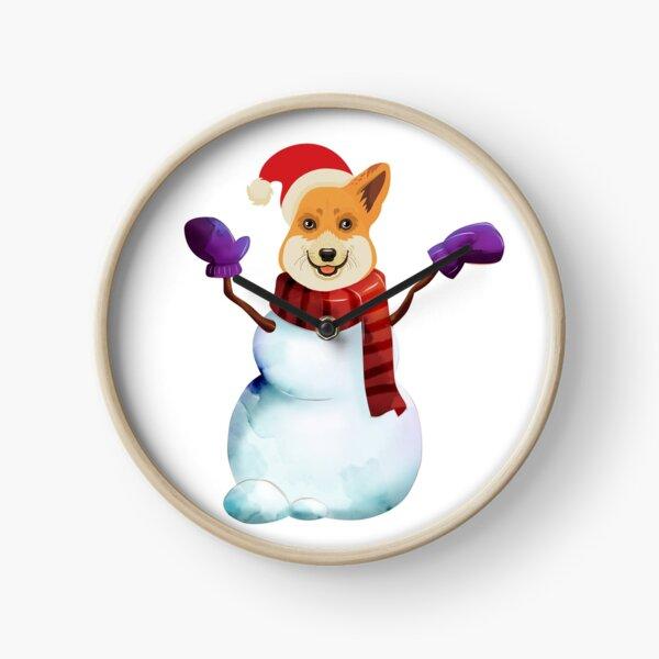 Corgi Snowman Clock
