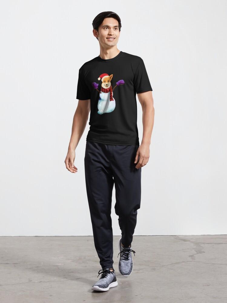 Alternate view of Corgi Snowman Active T-Shirt