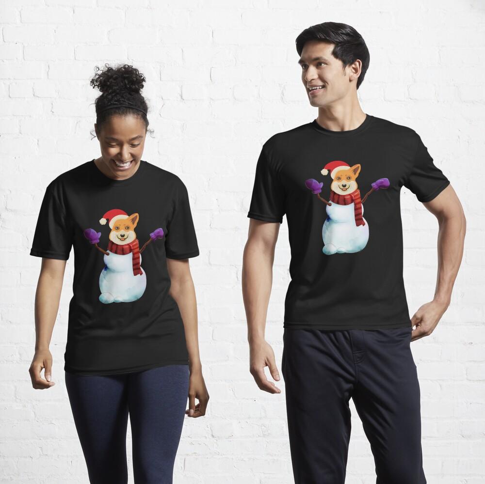 Corgi Snowman Active T-Shirt