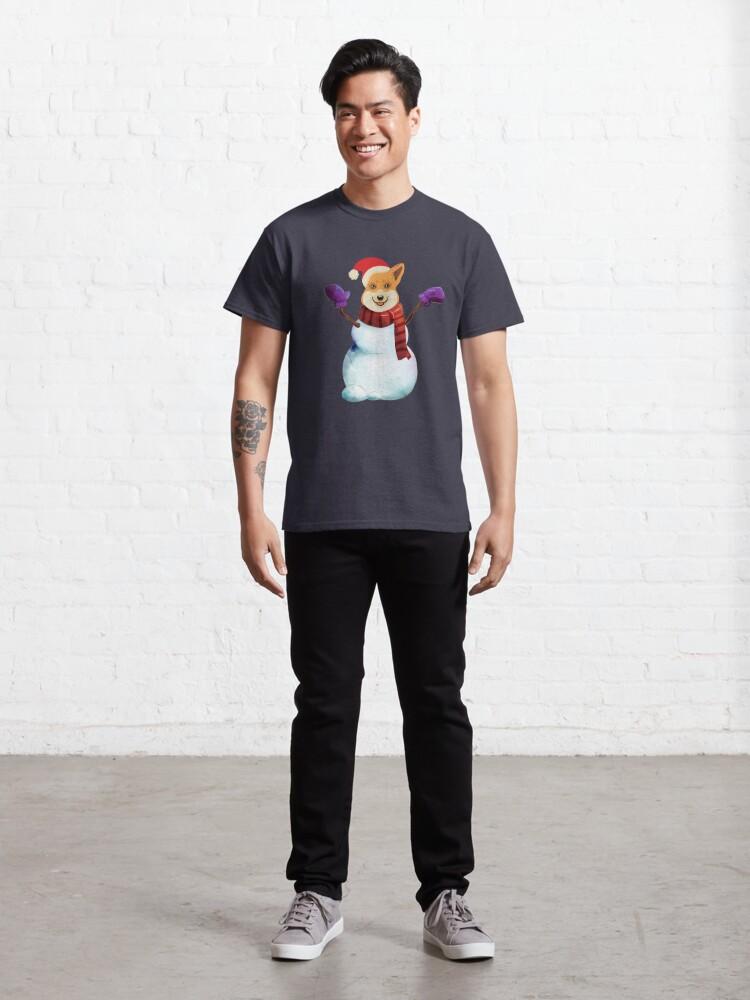 Alternate view of Corgi Snowman Classic T-Shirt