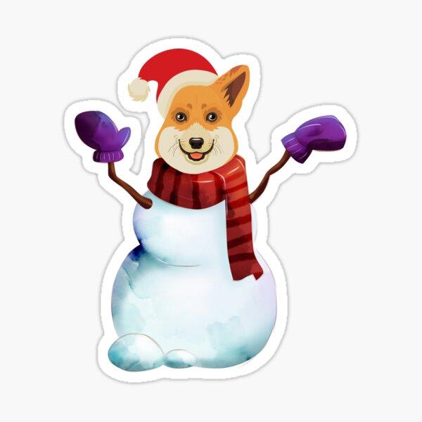 Corgi Snowman Sticker
