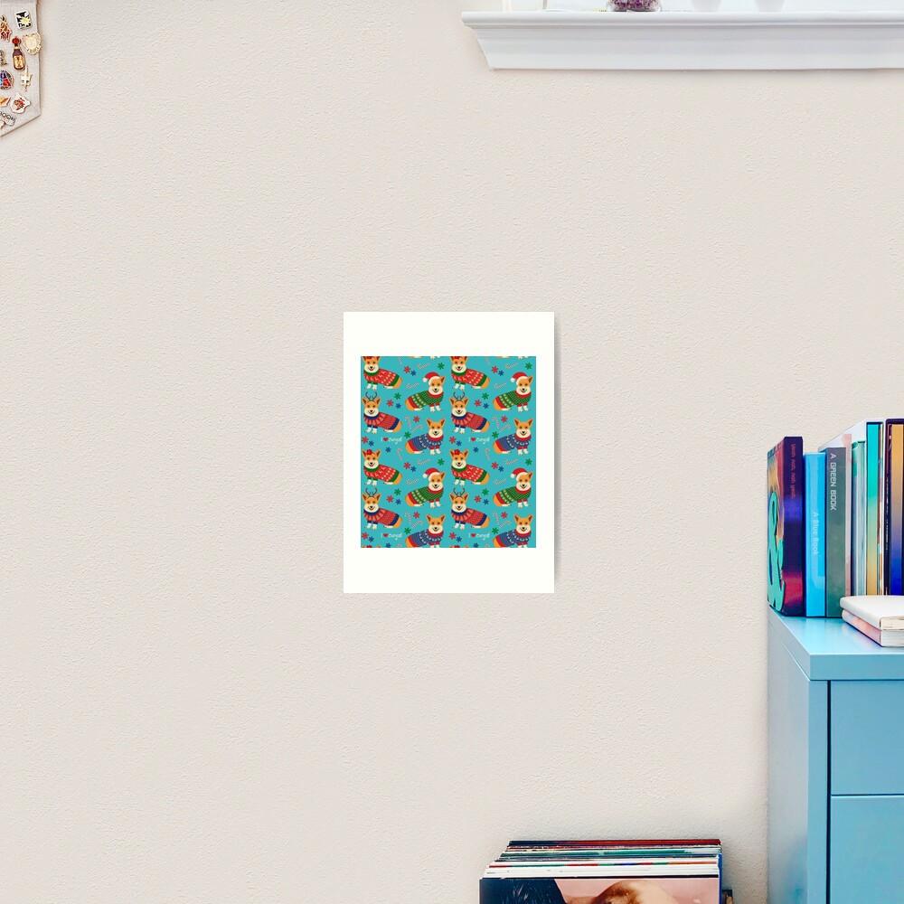 Merry Corgmess Teal Art Print