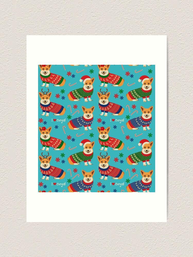 Alternate view of Merry Corgmess Teal Art Print