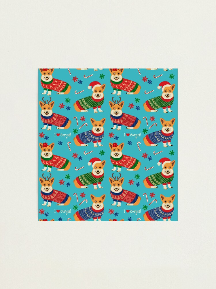 Alternate view of Merry Corgmess Teal Photographic Print