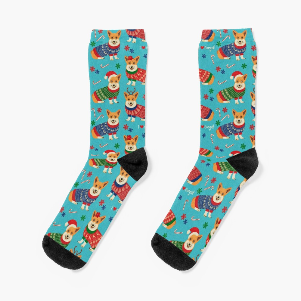 Merry Corgmess Teal Socks