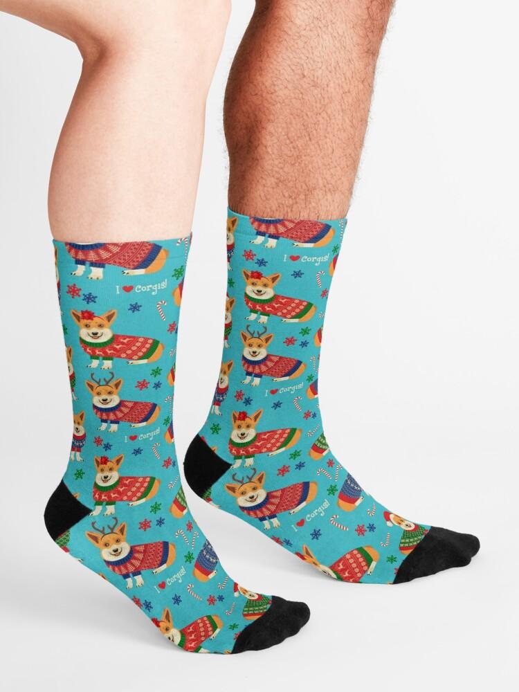 Alternate view of Merry Corgmess Teal Socks