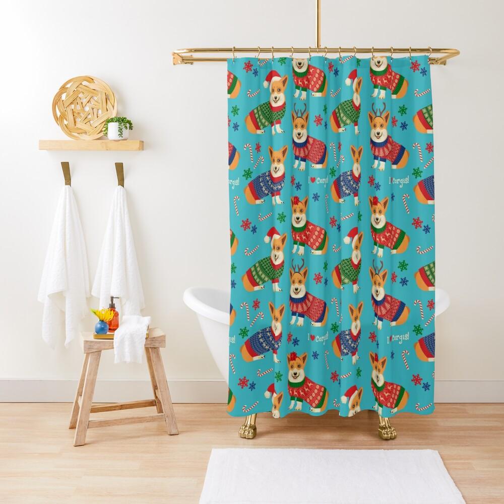 Merry Corgmess Teal Shower Curtain