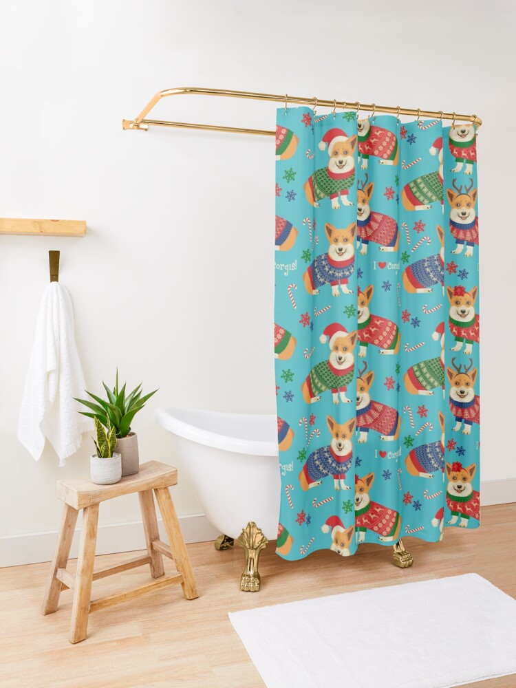 Alternate view of Merry Corgmess Teal Shower Curtain