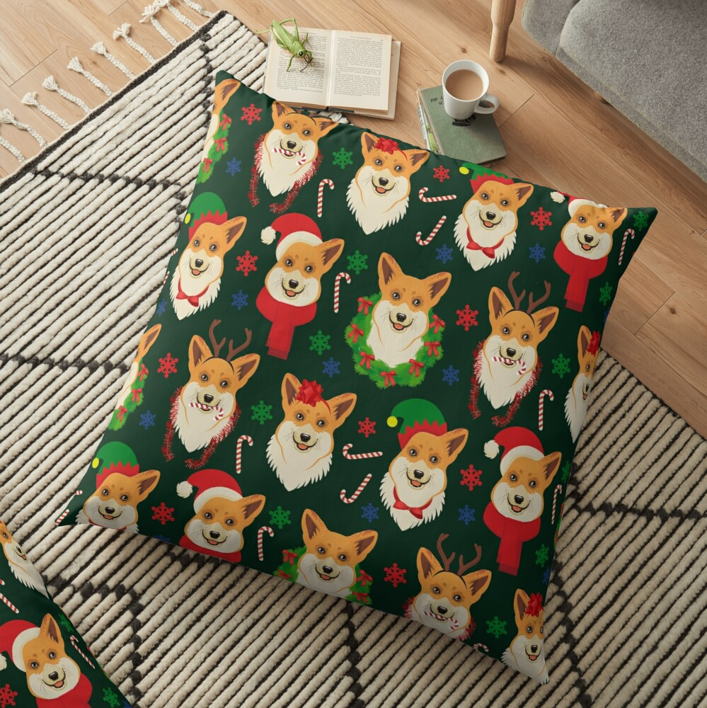Merry Corgmess - dark green Floor Pillow
