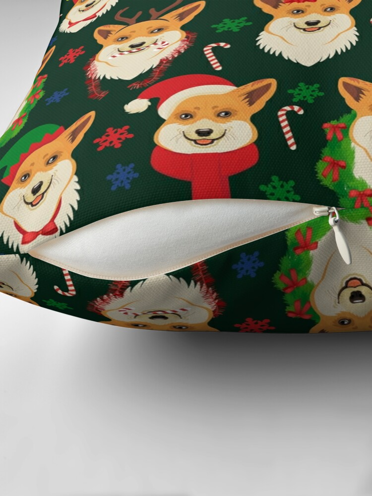 Alternate view of Merry Corgmess - dark green Floor Pillow