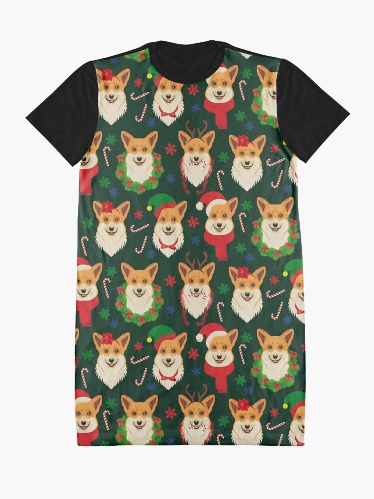 Alternate view of Merry Corgmess - dark green Graphic T-Shirt Dress