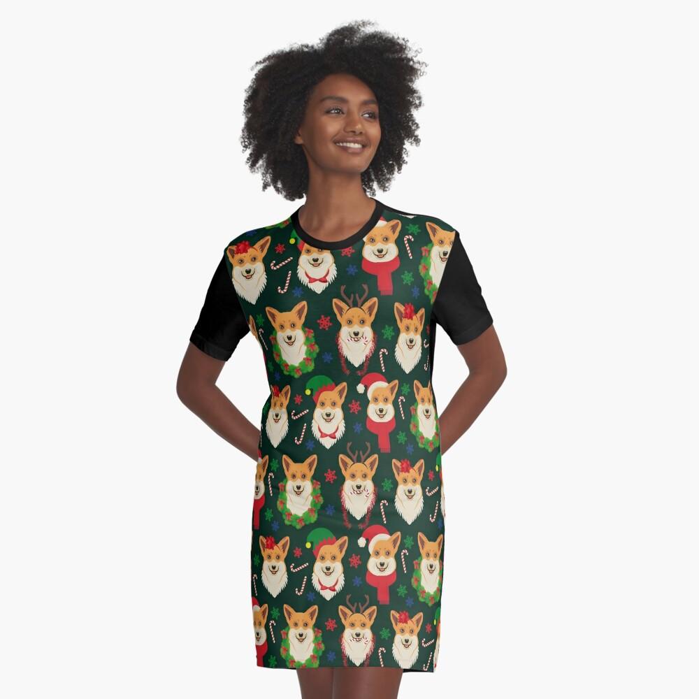 Merry Corgmess - dark green Graphic T-Shirt Dress