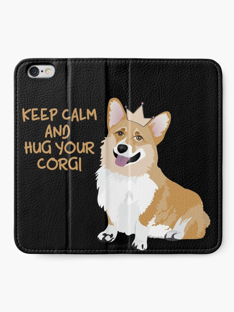 Alternate view of Keep Calm and Hug Your Corgi - black  iPhone Wallet