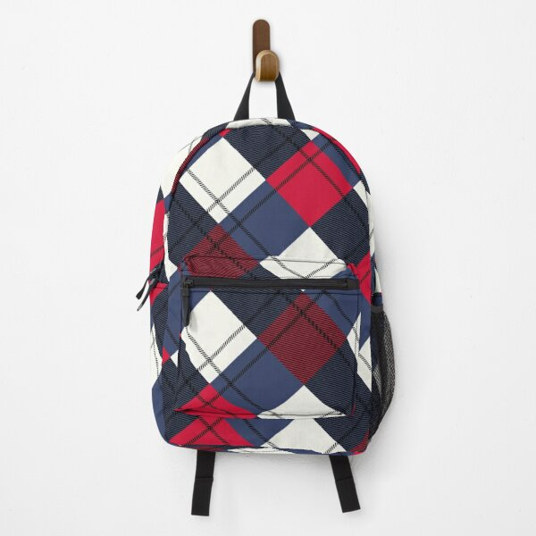 Vintage Scandinavian Plaid Pattern, Red and Blue  Backpack