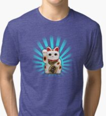 Japanese/Chinese Lucky Cat (Vintage Distressed) Tri-blend T-Shirt