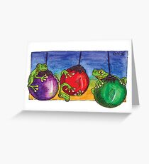 kmay xmas frogs on baubles Greeting Card