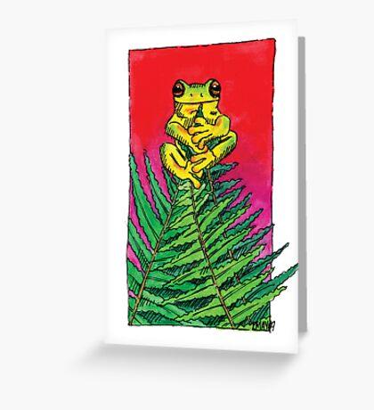 kmay xmas frog fern tree Greeting Card