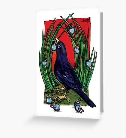 kmay xmas bower bird Greeting Card
