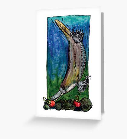 kmay xmas diving platypus Greeting Card