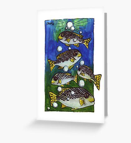 kmay xmas fish bubble tree Greeting Card