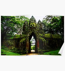 Guarded Gate: Heads at Angkor Thom, Cambodia Poster