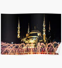 Illuminated: Blue Mosque at Night in Istanbul, Turkey  Poster
