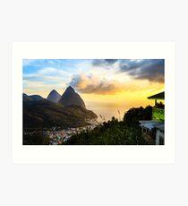 Piton Sunset: Soufrière Bay Panorama, St. Lucia Art Print