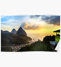 Piton Sunset: Soufrière Bay Panorama, St. Lucia Poster