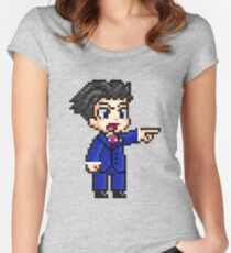 Phoenix Wright Pixel Sprite Women's Fitted Scoop T-Shirt