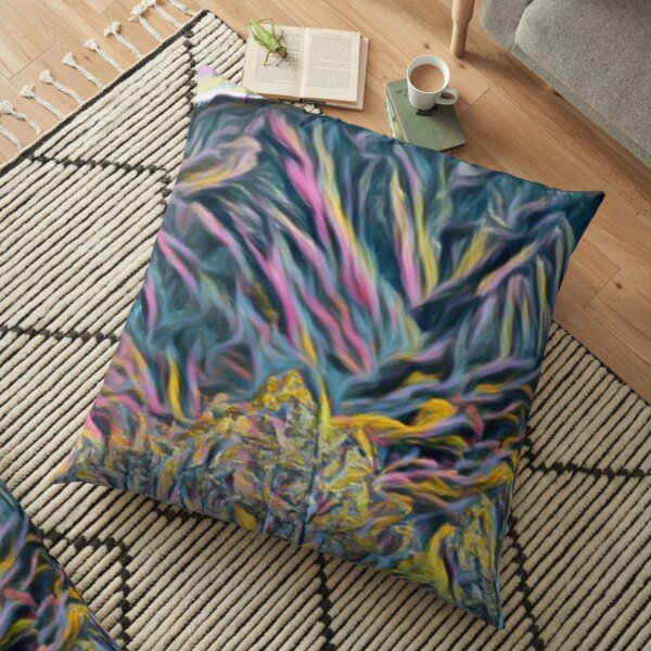 Oiled trees and carved mountains Floor Pillow