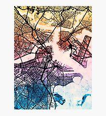 Boston Massachusetts Street Map Photographic Print