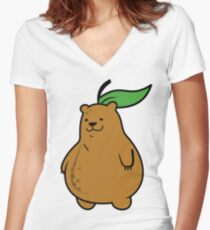 Pear Bear Women's Fitted V-Neck T-Shirt