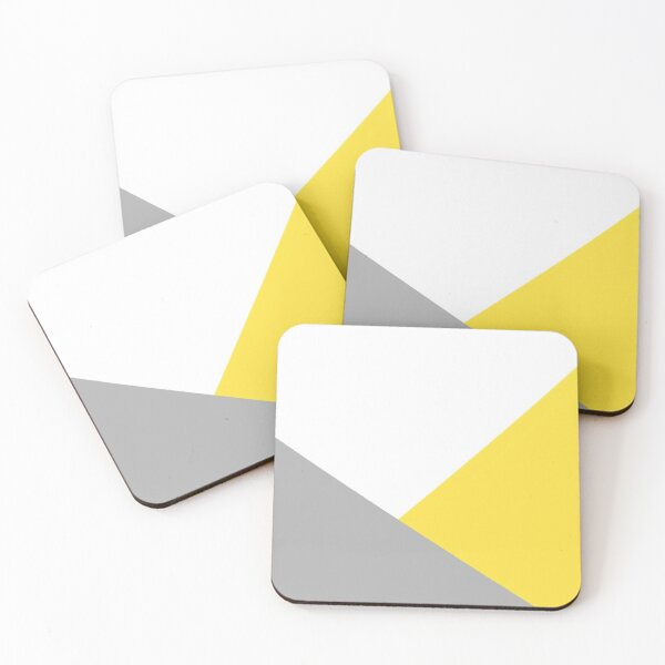 Yellow, grey and white print  Coasters (Set of 4)