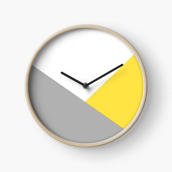 Yellow, grey and white print  Clock